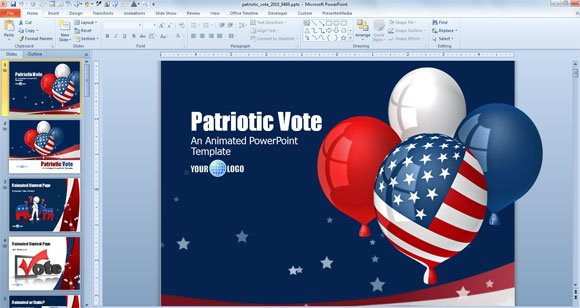 independence balloons us flag powerpoint template