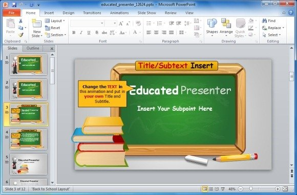 animated blackboard template for educational powerpoint presentations, Presentation templates