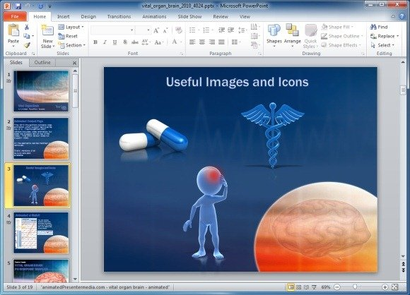 Vital organ powerpoint template with brain scan animation medical clipart toneelgroepblik Choice Image
