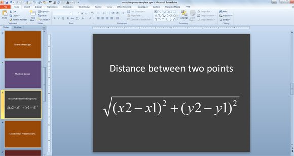 Equation and formula of distance between two points in a PowerPoint template