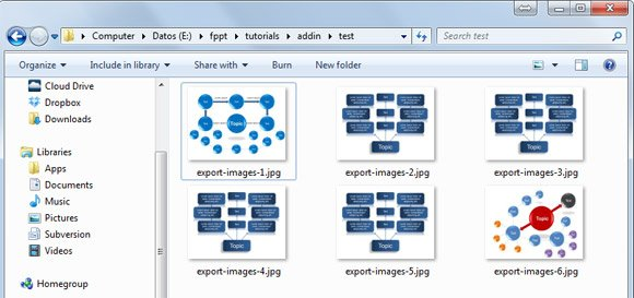 Example showing how to export the slides from a PowerPoint presentation to JPG images to a custom directory using VBA and macros