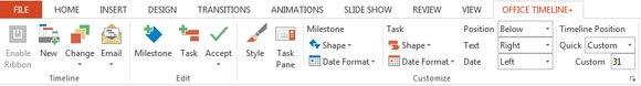 Office Timeline Ribbon in Microsoft PowerPoint 2010