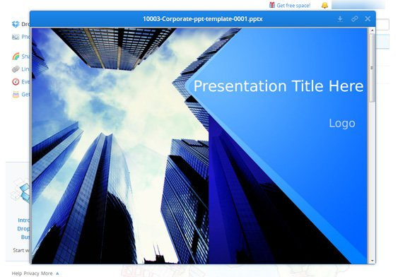 Preview Your Documents And PowerPoint Presentations Using Dropbox - Presentation cover page template