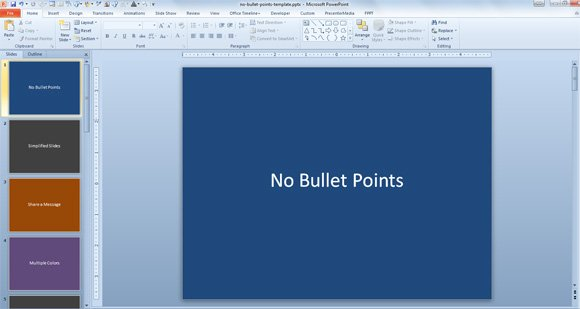 Example of PowerPoint slide with centered text