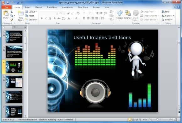 Clipart For Audio PowerPoint Template