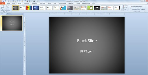 how to change powerpoint presentation to use black slide, Modern powerpoint