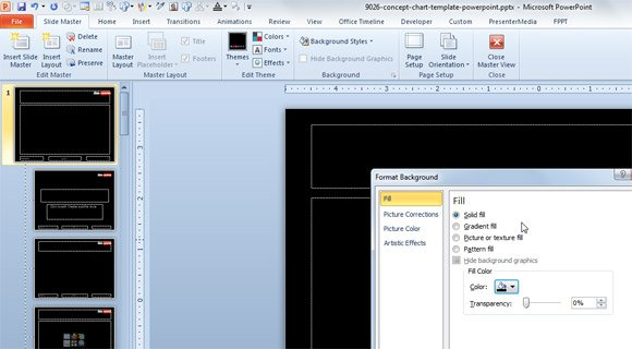 Change PowerPoint slide background easily