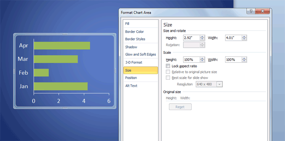 how to change powerpoint chart size & position, Modern powerpoint