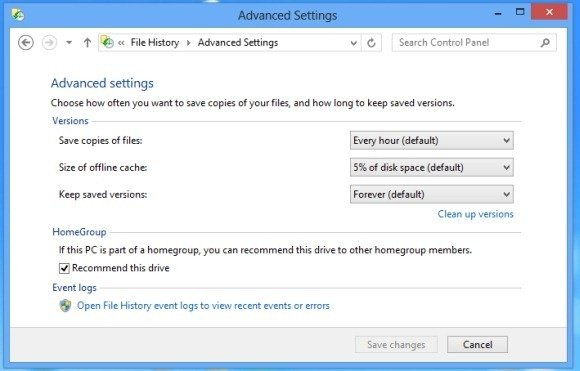 Advanced Settings for File History