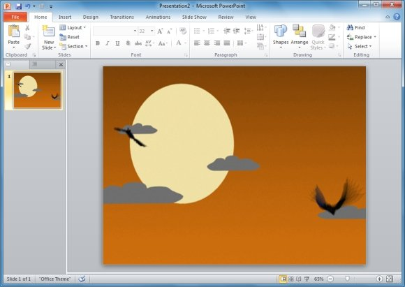 Bats With Moon PowerPoint Animation