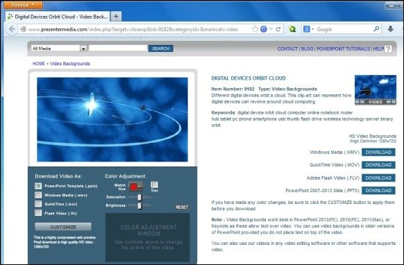 Customize Digital Devices Orbit Cloud Video Backgrounds From Presenter Media