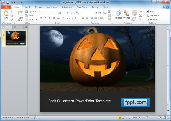 Jack o lantern template for PowerPoint
