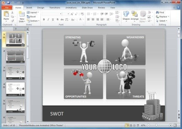 Animated swot analysis powerpoint template swot analysis powerpoint template toneelgroepblik Images