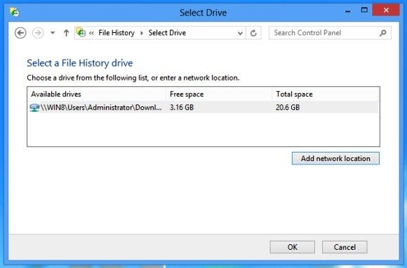 Select Drive for Windows 8 File History