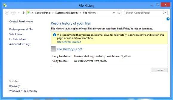 Turn on File History
