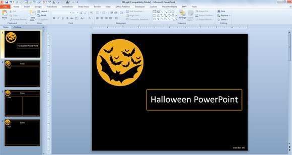 free Bat Halloween PowerPoint template