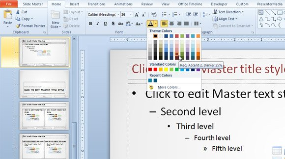 change the font color in a powerpoint presentation