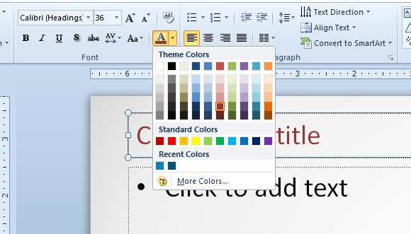 How to change default font color in a powerpoint presentation template how to change the color in a powerpoint 2010 template toneelgroepblik Image collections