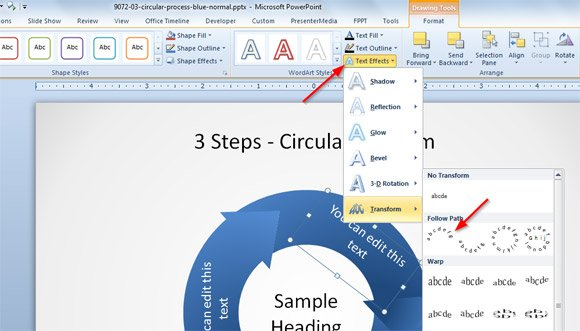 How to Make Text Curved in PowerPoint 2010