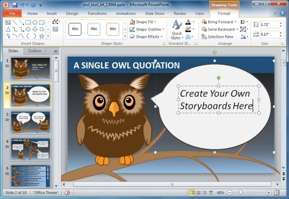 animated owl powerpoint template for presentations on knowledge, Modern powerpoint