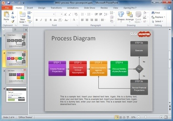 How to make a flowchart in powerpoint free process flow diagram template for powerpoint maxwellsz
