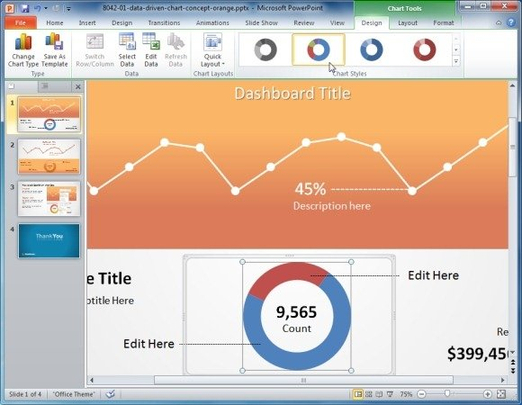 Orange Data-Driven Chart Concept For PowerPoint