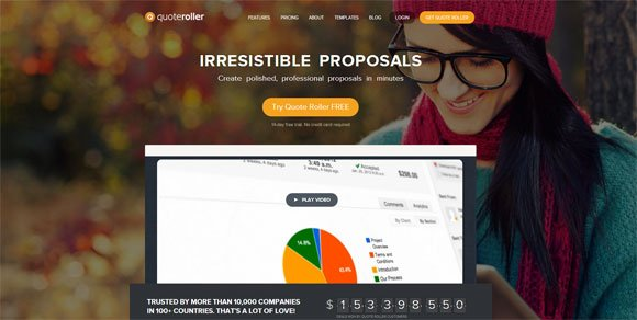 Business Proposal Website QuoteRoller Homepage