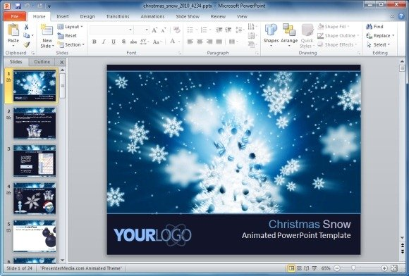 Animated Christmas Snow PowerPoint Template