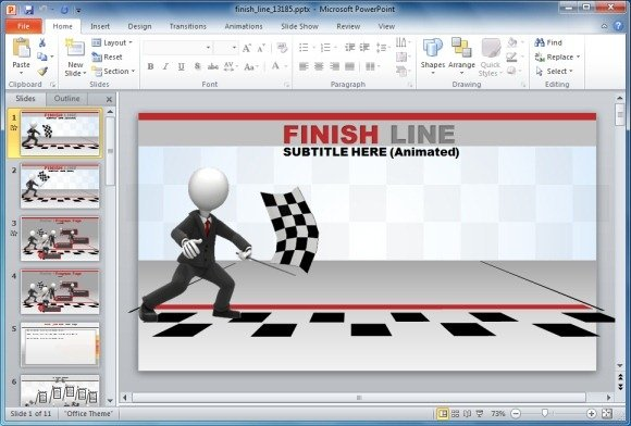 Finish line template for powerpoint with animations and race flag animated template that seamlessly adjusts with your presentation toneelgroepblik Images