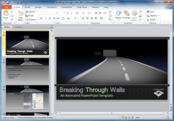 Breaking through walls animated powerpoint template breaking through walls powerpoint template toneelgroepblik Choice Image
