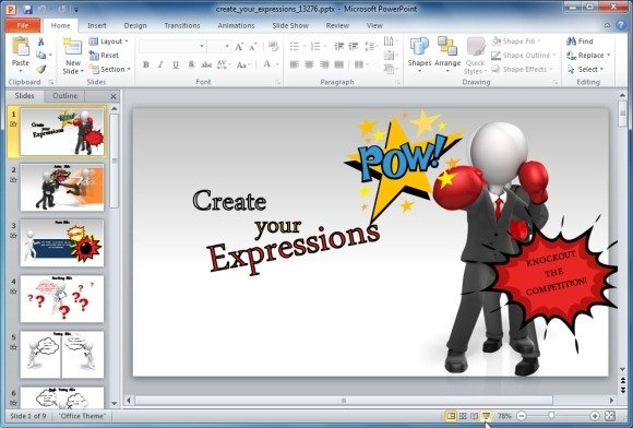 create custom expressions with graphics using powerpoint template, Modern powerpoint