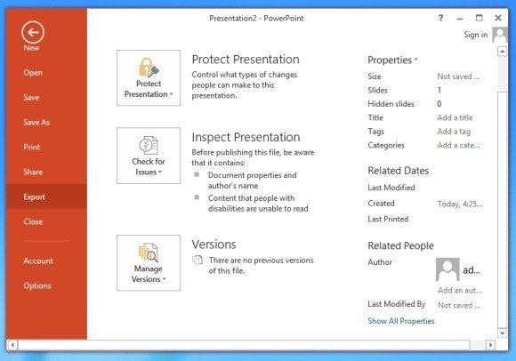 Export PPT in PowerPoint 2013