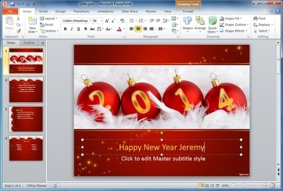 How to make animated happy new year cards in powerpoint free new year 2014 powerpoint template toneelgroepblik Gallery
