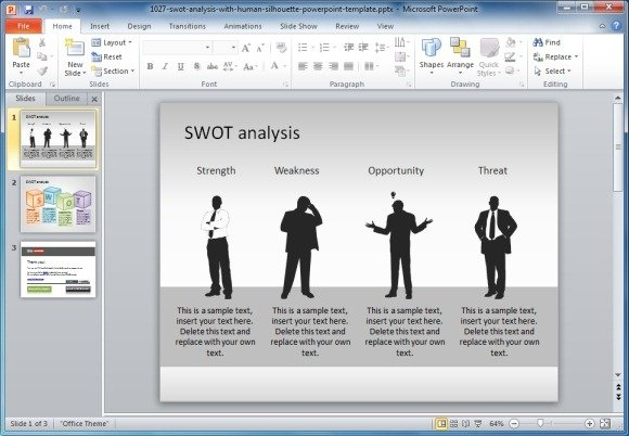 How to create a swot analysis free swot powerpoint template with human silhouette toneelgroepblik Images