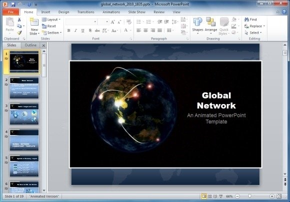 Global network powerpoint template with animated globe toneelgroepblik Images