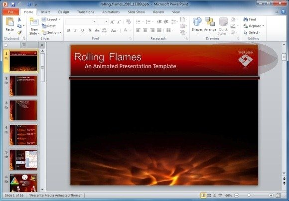 Animated flames powerpoint template and clipart rolling flames powerpoint template toneelgroepblik Gallery