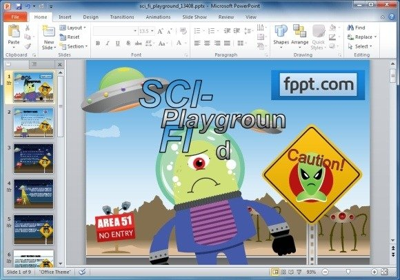 Animated Sci Fi Powerpoint Template For Kids Educational Presentations
