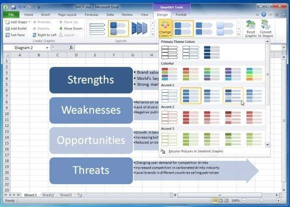 Stylize SWOT Analysis in Excel