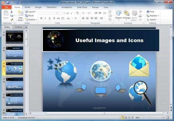 Global network powerpoint template with animated globe technology clipart and images toneelgroepblik Images