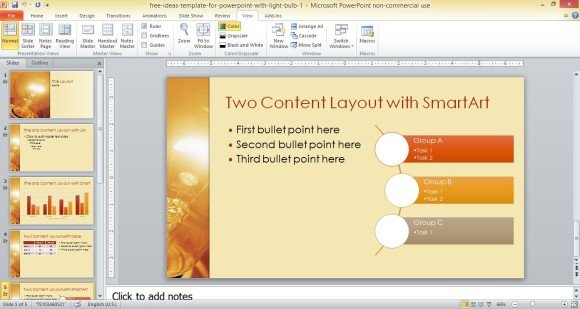 Free Ideas Template For Powerpoint With Light Bulb