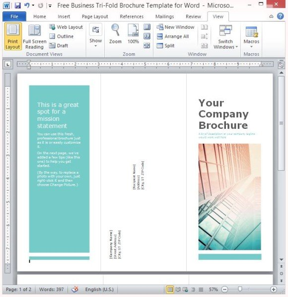 Free Business TriFold Brochure Template For Word