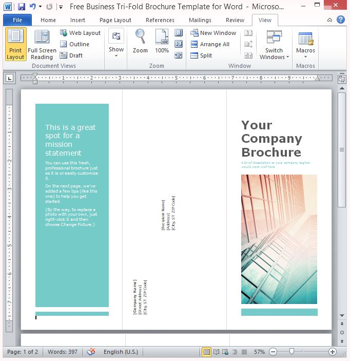 Free business tri fold brochure template for word for Trifold brochure template free