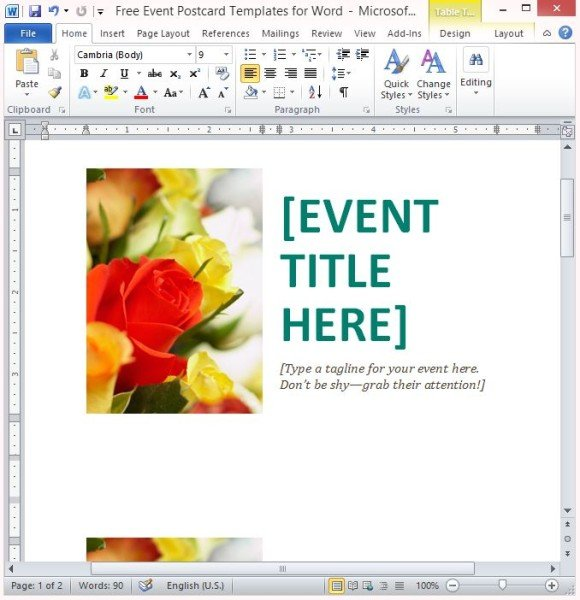Free PowerPoint Templates  Free Postcard Template For Word