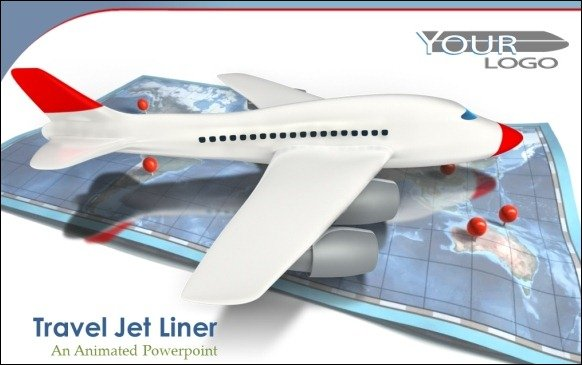 Animated airplane templates for powerpoint jet airplane with travel map toneelgroepblik Gallery
