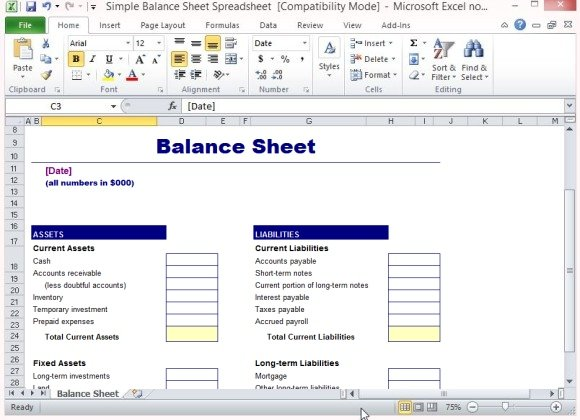 simple balance sheet template for microsoft excel