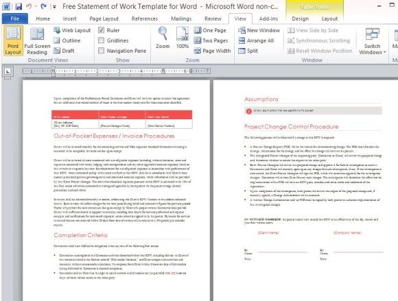 Free statement of work template for word for Construction statement of work template