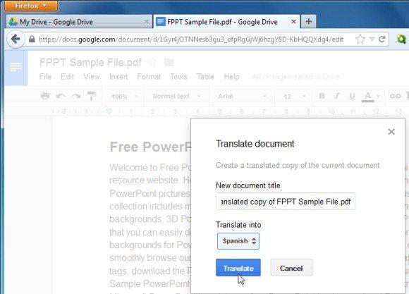 google pdf file translate