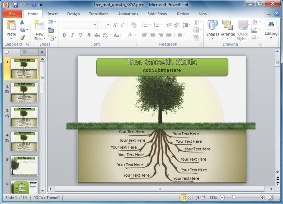 Animated tree with roots powerpoint template tree root growth powerpoint template toneelgroepblik Images
