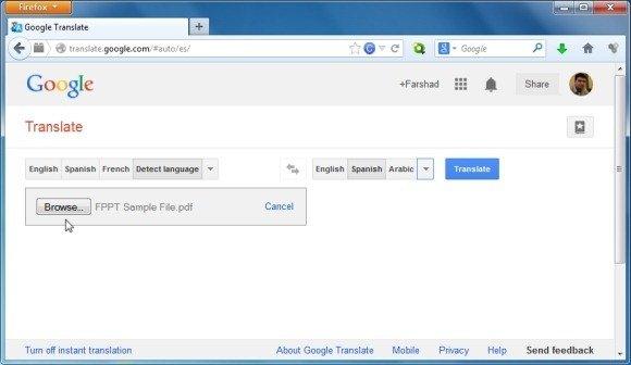 Upload a PDF File for Translation