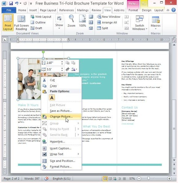 User Friendly And Customizable Business Tri Fold Brochure  Microsoft Word Tri Fold Brochure